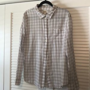 Gingham Gray and White Button Down